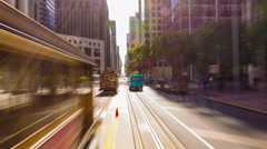 Time-Lapse San Francisco Inbound California Street Cable Car Riding Center Front Stock Footage