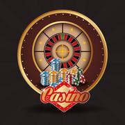 roulette chips casino las vegas icon - stock illustration