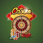 Roulette chips dice casino las vegas icon Stock Illustration