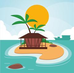 Vacations paradise island travel Stock Illustration