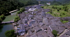 UAV aerial Chinese traditional tile roof and river Stock Footage