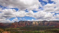 Time Lapse Overview from Airport Mesa Vortex in Sedona, Arizona -Pan Right- Stock Footage
