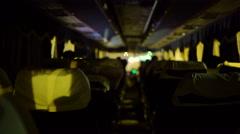 Overnight intercity bus ride on night road Stock Footage