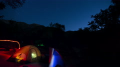 6K Under Starry Sky 01 Time Lapse Stars at Campground Stock Footage