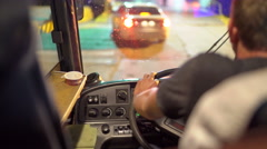Bus driver behind the wheel driving intercity coach to load onto the ferry Stock Footage
