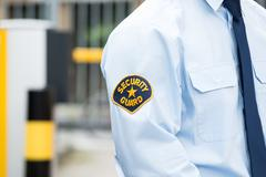 Close-up Of A Male Security Guard In Uniform - stock photo