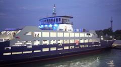 Passenger cargo ferry Glykofilousa III moored at the Port Krym Stock Footage