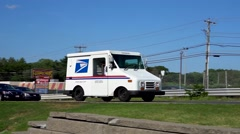 Post Office mail delivery truck, highway traffic Stock Footage