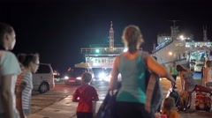 Car passenger ferry Olympiada and Elena boarding deboarding in Port Kavkaz Stock Footage