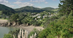 Beach cove in the northern Coromandel Peninsula, New Zealand Stock Footage