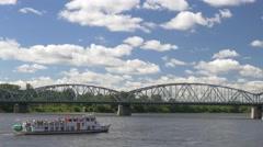 Bridge in Torun. Vistula river in the summer. Stock Footage