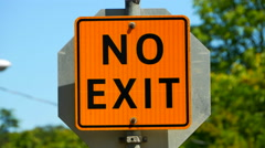 4K No Exit Sign, Traffic Sign, Orange Square Message Stock Footage