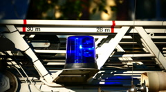 Firemen Ambulance blue light blinking Frankfurt am Main Germany Europe Stock Footage