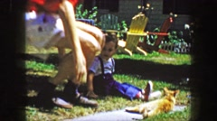 1959: Family plays cat pets animal summer outdoor picnic fun father dynamic. Stock Footage