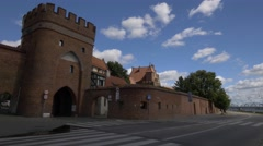 Old city walls in Toruń. Stock Footage