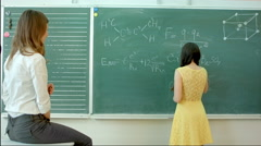 Woman chemist shows a molecular structure Stock Footage