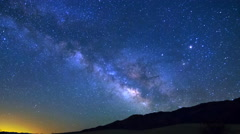 MoCo Tracking Astro TimeLapse of Galaxy at Dry Lakebed in Death Valley -Sky- Stock Footage