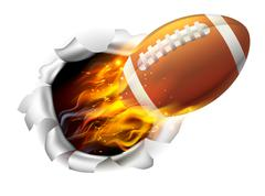Flaming American Football Ball Tearing a Hole in the Background Stock Illustration