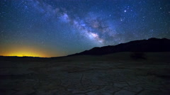 MoCo Tracking Astro TimeLapse of Galaxy at Dry Lakebed in Death Valley -Ground- Stock Footage