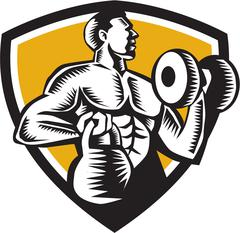 Athlete Lifting Kettlebell Dumbbell Crest Woodcut - stock illustration