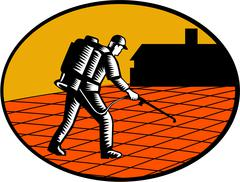 Paver Sealer Contractor House Oval Woodcut Stock Illustration