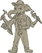 Ganesha Elephant Handyman Tools Drawing Stock Illustration