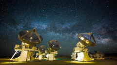 4k Timelapse Radio Array Telescopes with Milky way Stock Footage