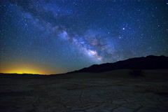5K MoCo Tracking Astro TimeLapse of Milky Way over Dried Lakebed in Death Valley Stock Footage