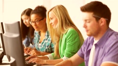 Students in computer class Stock Footage