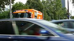 4K Fire Brigade rescue wagon Ambulance derailed Tram on railway Frankfurt am Stock Footage