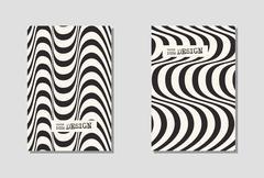 Design monochrome waving lines illusion background. Stock Illustration