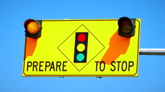4K Prepare to Stop Traffic Sign, Flashing Lights, Slow Zoom Stock Footage