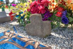 Turov, Belarus - August 7, 2016: place of worship pilgrims growing stone cros Stock Photos