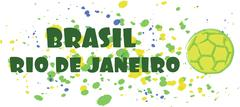 Brasil, rio de janeiro sport card with soccer ball over splash painted backgr Stock Illustration