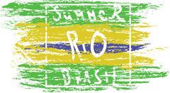Summer Brasil, rio hand drawn card with splash painted background. Digital ve Stock Illustration