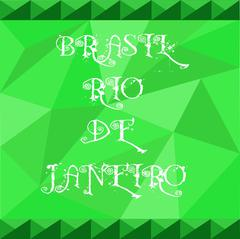 Brasil, rio de janeiro card with text over green background with abstract tri Stock Illustration