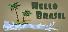 Hello brasil card with palm trees and water design over brown background, in Stock Illustration