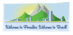 Welcome to Brasil paradise card with mountains and city view over white backg Stock Illustration