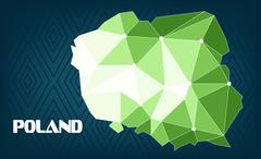 Poland country map design with green and white triangles over dark blue backg Stock Illustration