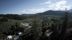 Aerial View: Slight Panning Of Pine Trees On Mountain To Valley Vistas Stock Footage