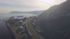 Aerial Photo. Port Baikal at sunset Stock Footage