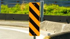 4K Yellow Barrier Traffic Signage, Caution Stripes Pattern on Street Stock Footage