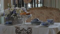 High Tea Set Table Room Interior Victorian Gothic Revival Style Stock Footage