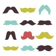 Face accessory party set fun mustache hipster beard character vector Stock Illustration