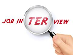 Magnify glass of interview Stock Illustration