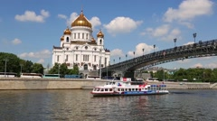 Christ the Savior Cathedral at Moscow river embankment Stock Footage