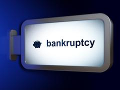 Money concept: Bankruptcy and Money Box on billboard background - stock illustration