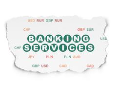 Banking concept: Banking Services on Torn Paper background - stock illustration