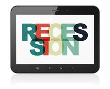 Business concept: Tablet Computer with Recession on  display Stock Illustration