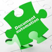 Business concept: Document Automation on puzzle background Stock Illustration
